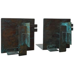 Sculptural Copper Bookends with a Verdigris Patina