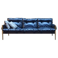 Brazilian Mid-Century Modern Inspired Campanha Sofa in Black Leather