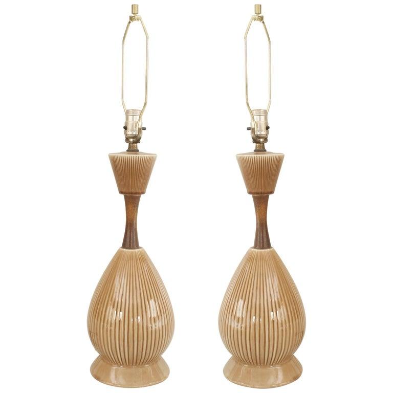 Pair of American Midcentury Beige Porcelain Table Lamps