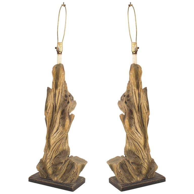 Pair of American Midcentury Large Faux Driftwood Composition Table Lamps