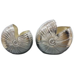 20th Century Sterling Silver Italian Vases in the Shape of Nautilus Shell, Pair