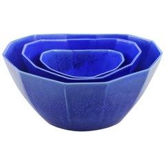 Nesting Bowl Cobalt Serving Bowl Set Modern Contemporary Glazed Porcelain