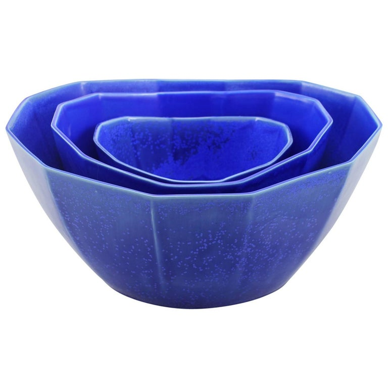 Nesting Bowl Cobalt Serving Bowl Set Modern Contemporary Glazed Porcelain For Sale