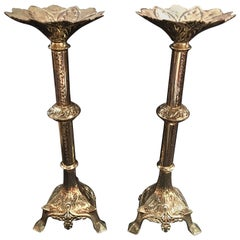 Pair of French Polished Brass Candlesticks or Prickets, 19th Century
