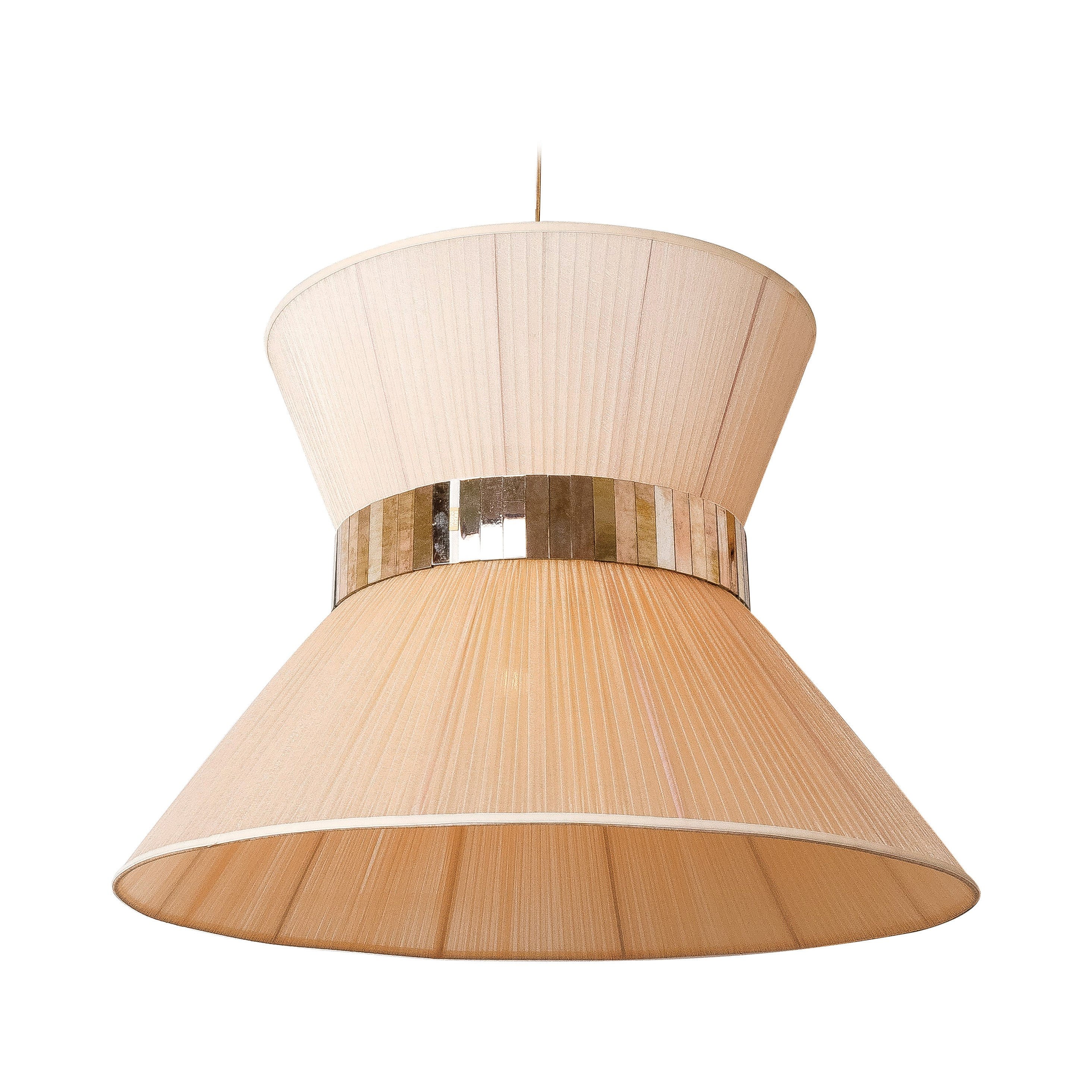 Tiffany Contemporary Hanging Lamp 80 Ivory Silk Silvered Glass brass Canopy