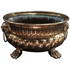 French Polished Brass Round Jardiniere or Planter with Handles, 19th Century