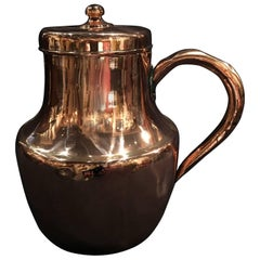 French Polished Copper Pitcher or Jug with Handle, 19th Century