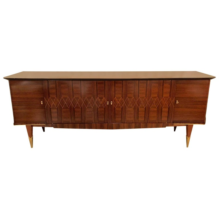 Monumental Art Deco Macassar and Inlaid Sideboard Credenza with Glass Shelves