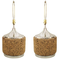 Pair of American Mid-Century Bulbous Shaped Cork Table Lamps