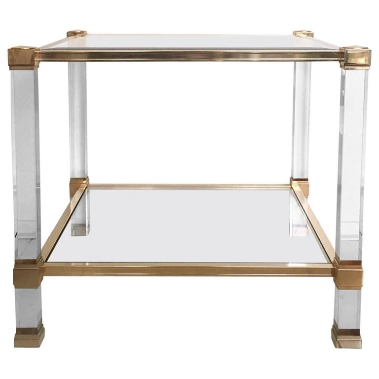 Pierre Vandel, Square Lucite and Glass Coffee Table, Side Table, 1970s