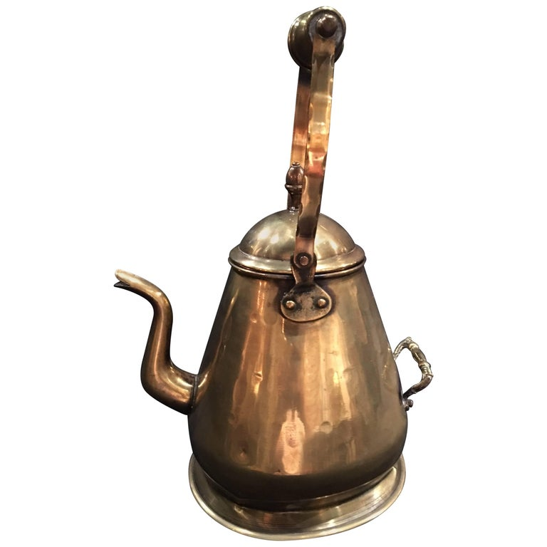 English Polished Brass Kettle, 19th Century