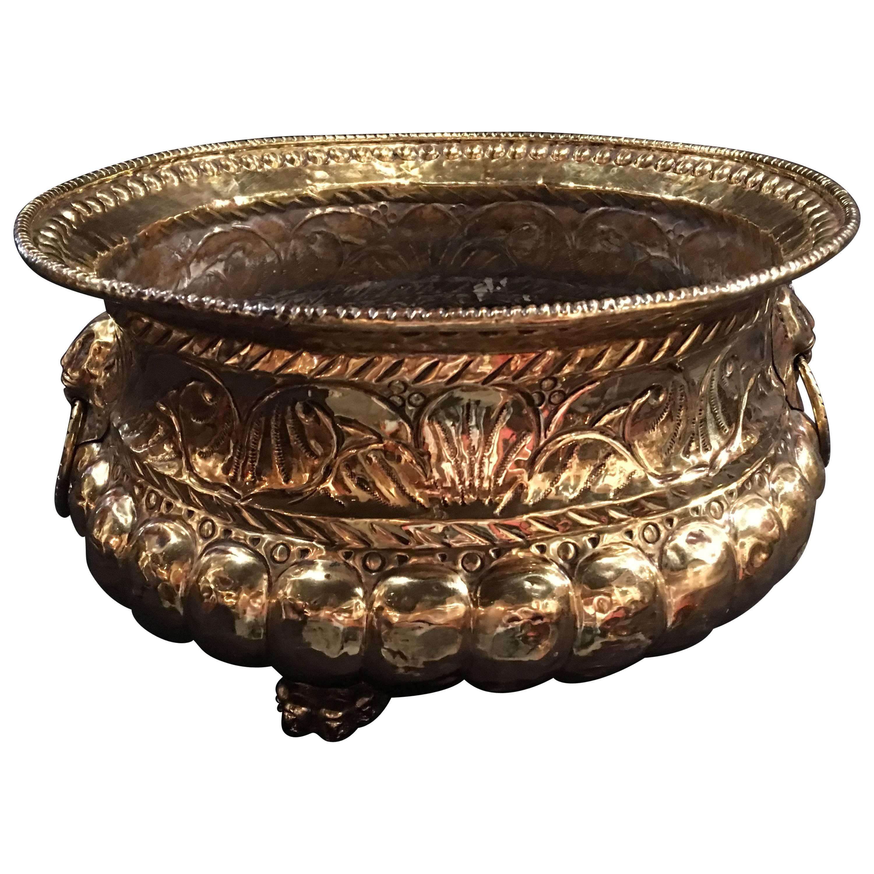 French Polished Brass Round Jardiniere or Planter on Feet, 19th Century