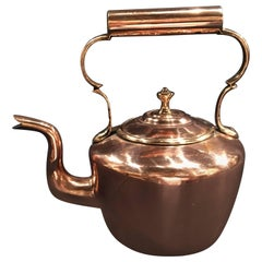 English Polished Copper Kettle with Handle and Lid, 19th Century