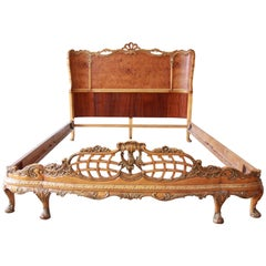 Antique Burled Maple French Carved Full Size Bed by Romweber