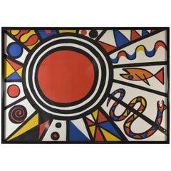 Vintage Alexander Calder Signed  Numbered Lithograph Sun Snake Fish, circa 1970