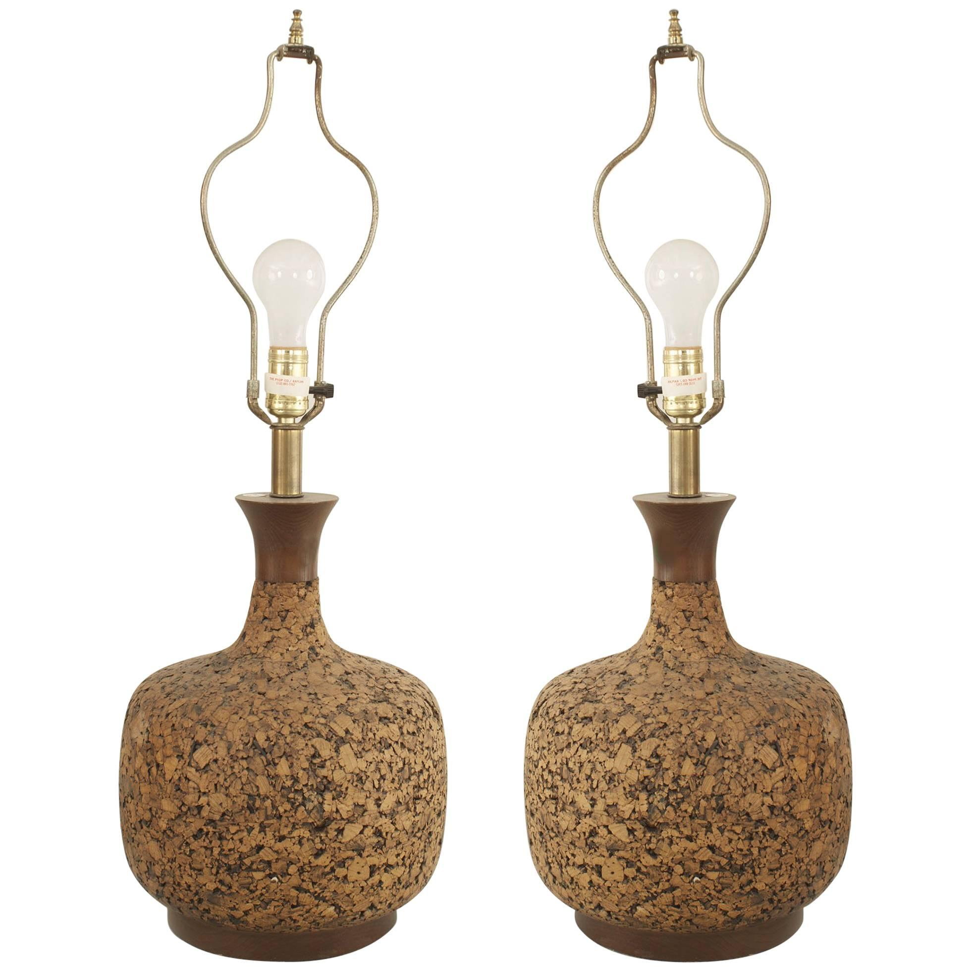 Pair of American Midcentury Bulbous Shaped Cork Table Lamps
