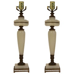 Pair of 1950s Marble and Brass Lamps