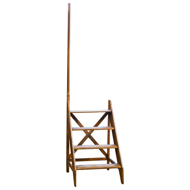 Antique Wooden Library Ladder With Handle For