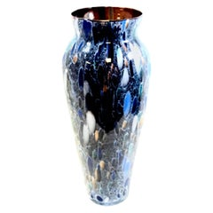Gorgeous Murano Signed Blue, Gold, Dark Tone Vase