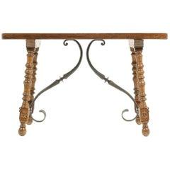Spanish Oak and Wrought-Iron Trestle Table