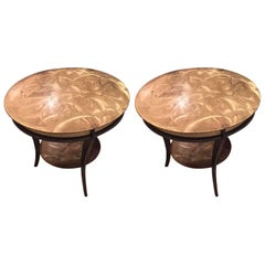 Pair of American 1950s Brass and Steel Round Gueridon Style End Tables