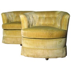 Milo Baughman Style Button Tufted Swivel Barrel Chairs