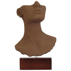 1970s Ceramic Bust with Sand Coating
