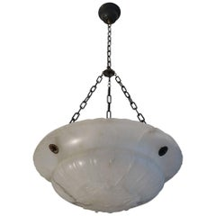 Near Translucent White Neoclassical Alabaster & Chain Pendant / Ceiling Lamp