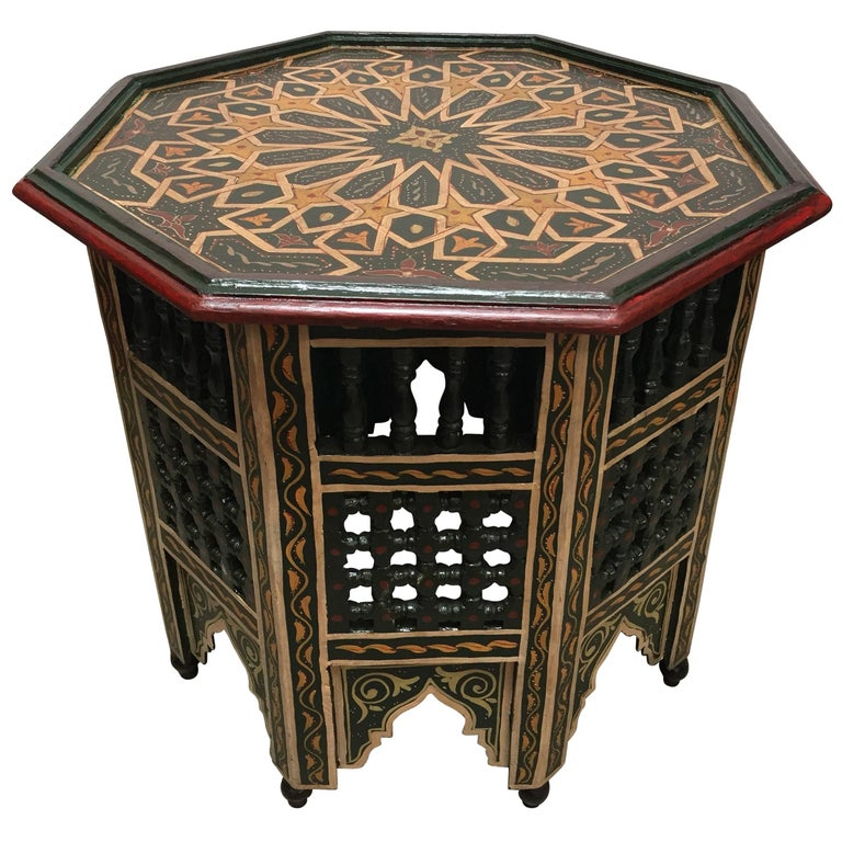 Moroccan Hand Painted Dark Green Octagonal Side Table For