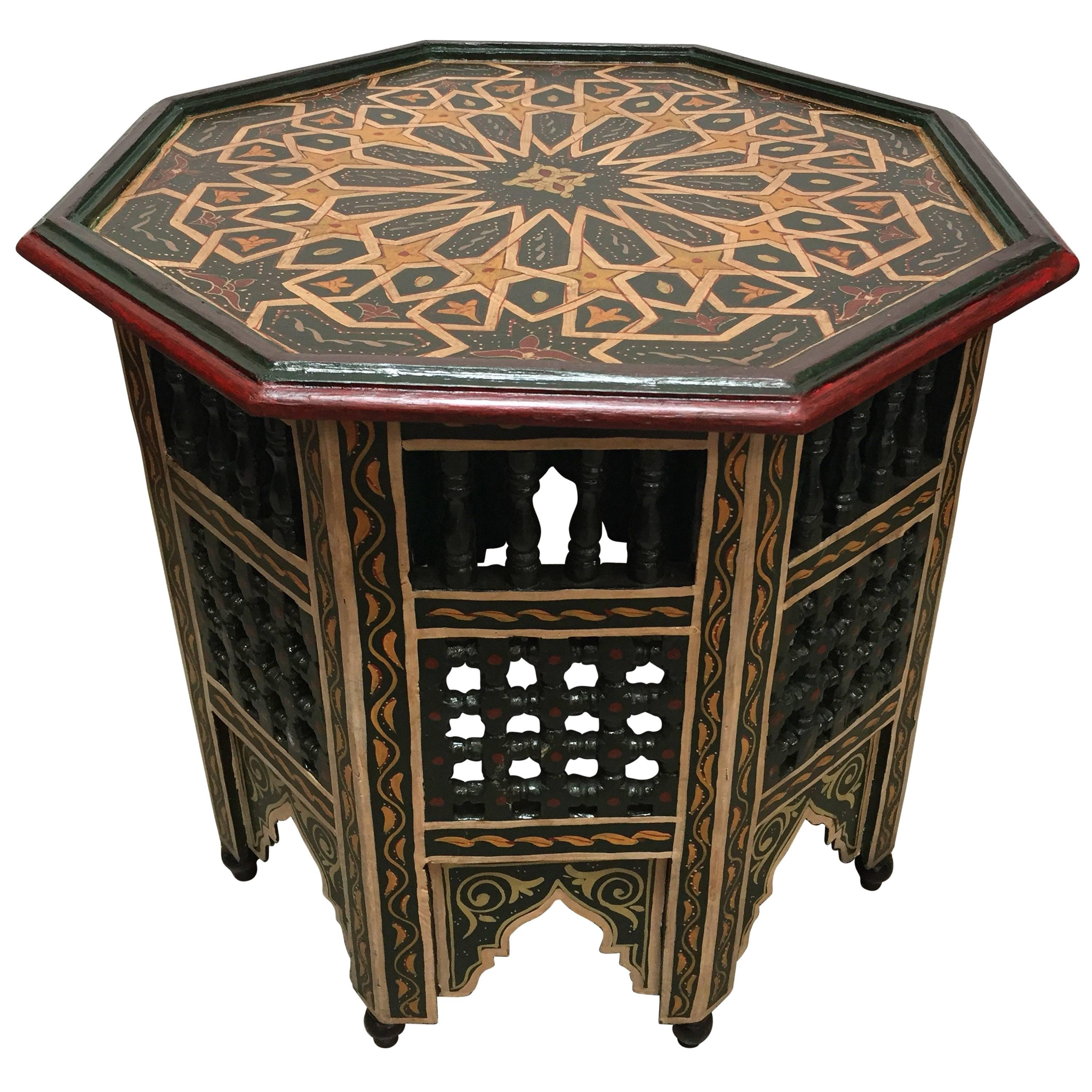 Moroccan Hand Painted Dark Green Octagonal Side Table For Sale