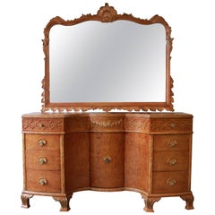 Antique Burled Maple French Carved Vanity and Mirror by Romweber