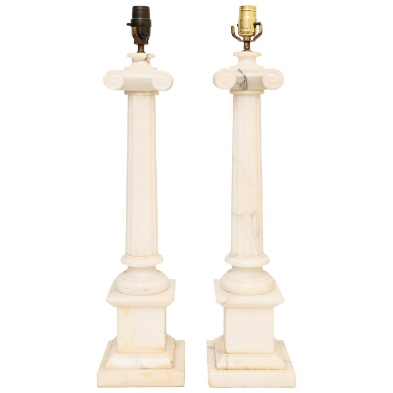 Pair of Carved Alabaster Columnar Form Table Lamps