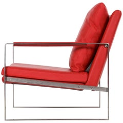 Modern Brushed Steel Red Faux-Leather Cube Lounge Chair, Style of Milo Baughman