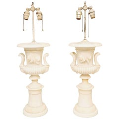 Pair of Grand Scale Urn-Form Alabaster Lamps