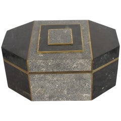 1970s Casa Bique Tessellated Stone and Brass Box by Robert Marcius