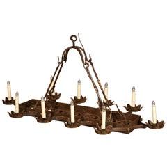 19th Century French Ten-Light Forged Iron Flat Bottom Island Chandelier