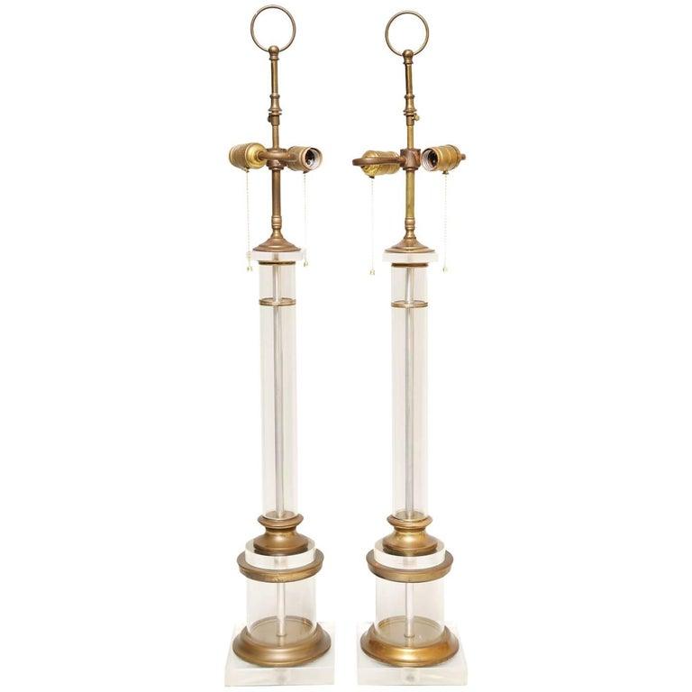 Pair of Glass Columnar Lamps
