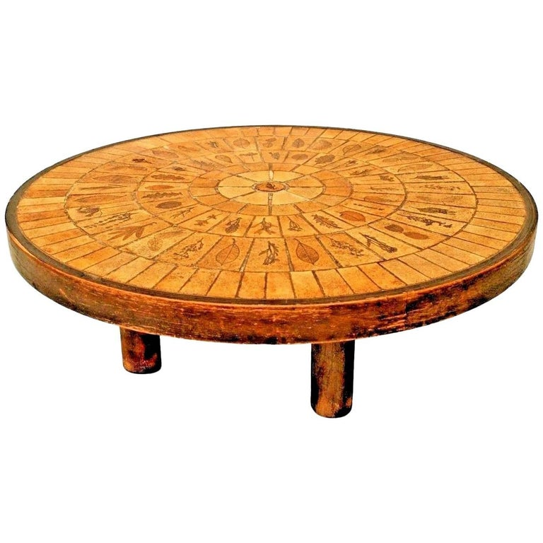 French 1960s Round Coffee Table with a Round Inset Beige Ceramic Tile Top