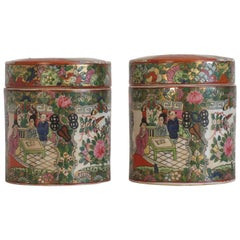 Pair of 1930s Asian Cover Jars with People Motif
