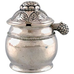 Mustard pot by Evald Nielsen, Denmark in hammered silver, circa 1920
