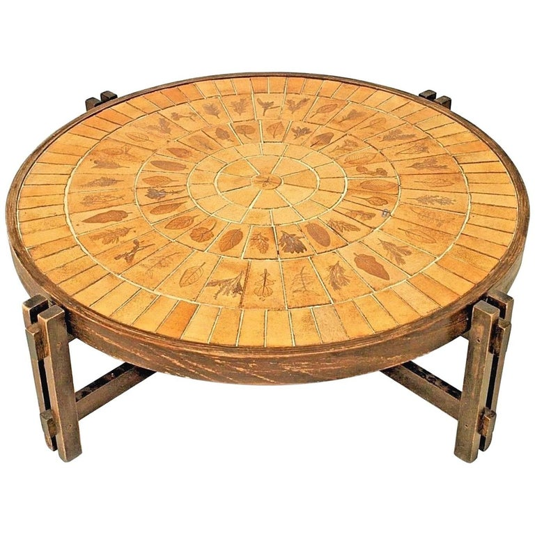 French 1960s Round Coffee Table