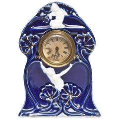 Art Nouveau Colbalt Blue Gilt Porcelain Desk Clock with White Figures