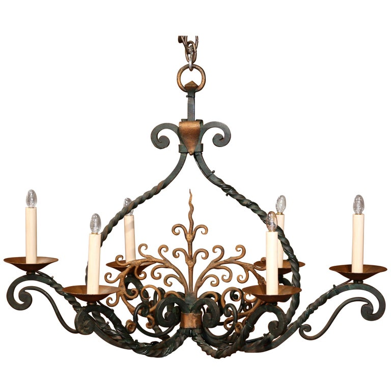 Early 20th Century French Verdigris and Gilt Accent Six-Light Iron Chandelier For Sale