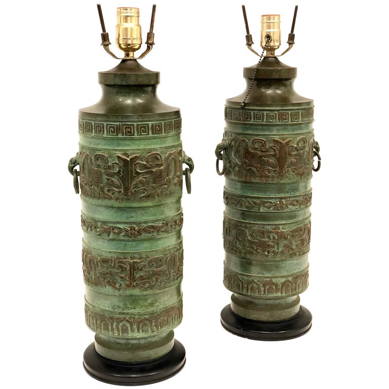 Pair of Bronze Lamps in the Style of James Mont Hollywood Regency