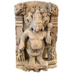 Sandstone India Sculpture of Padma Nidhi Kubera