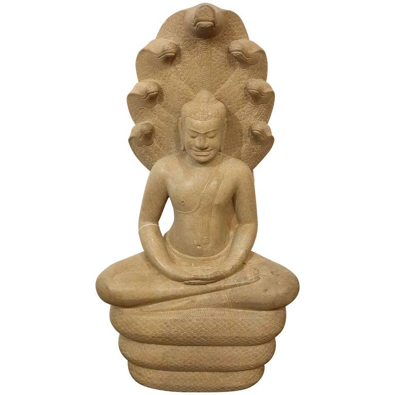 Mucalinda Buddha Snake Sandstone Cambodia
