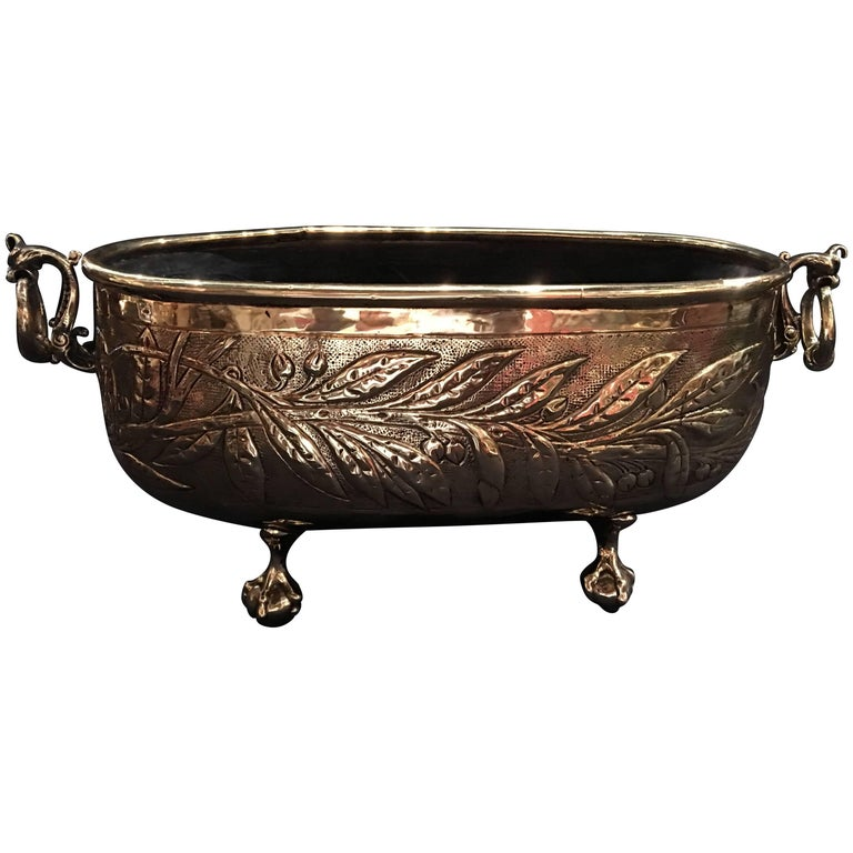 French Polished Brass Oval Jardinière or Planter, 19th Century