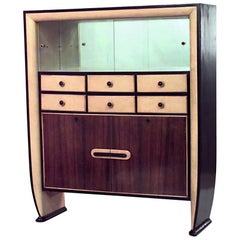 Italian 1940s Rosewood and Parchment Cabinet