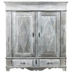 19th Century Rustic Dutch White Painted with Grey Patina Armoire