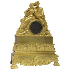 French Empire Gilt Bronze Clock Made for Turkish Market